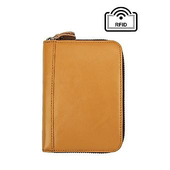 Yellow wallet in genuine leather with RFID signal blocking - 18 slots