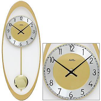 AMS 7417 Wall clock Quartz with pendulum golden oval pendulum clock with glass and aluminum