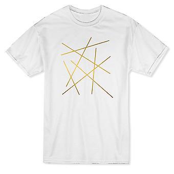 Graafinen Golden Lines Pattern Design Miesten's T-paita
