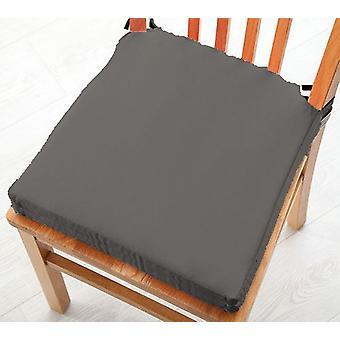 Graue Baumwolle Twill Essstuhl Sitzpad Kissen, Packung mit 2