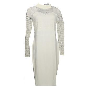 K Jordan Women's High Neck Long Slvs Lace Fit & Flare Dress Off White Ivory