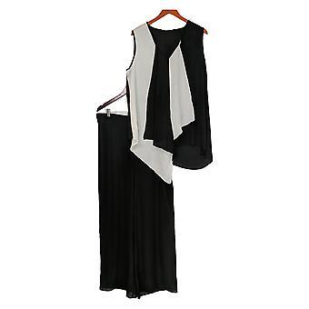 Masseys Plus Set Asymmetric Sleeveless Top & Pants White / Black