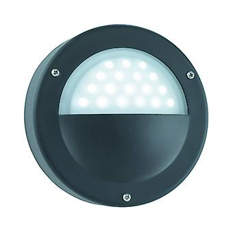 Round Led Outdoor Wall Lamp, In Aluminum And Glass, Black