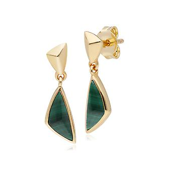 Micro Statement Malachite Drop Earrings in Gold Plated 925 Sterling Silver 270E027702925