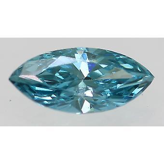 Cert 0.30 Carat Sky Blue VVS2 Marquise Enhanced Natural Diamond 6.94x3.19mm 2VG