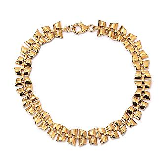 """RACHEL GALLEY Link Chain Bracelet Dames 14ct Gold Plated Sterling Silver Size 8"""""""