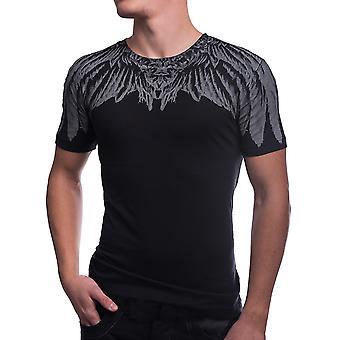 Menn t-skjorte kort erme trykt fjær fjær SlimFit mote klær hvit / svart