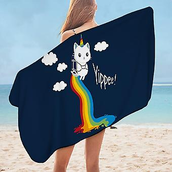 Flying Unicorn Cat Microfiber Beach Towel