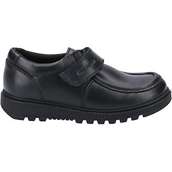 Hush Puppies Ryan Jnr Boys Leather Touch Fasten Shoes Black