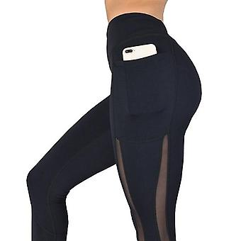 Women High Waist Pocket Side Lace Workout Solid Color Leggings