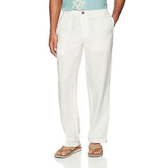 28 Palms Men's Relaxed-Fit Linen Pant with Drawstring, Cream, Large/30