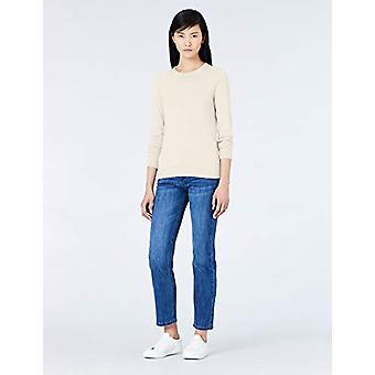 MERAKI Women's Cotton Crew Neck Sweater,  Beige (Linen), EU M (US 8)