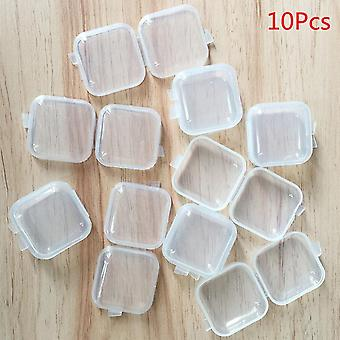 Portable Mini Plastic Transparent Storage Boxes - Square Pill, Jewelry,