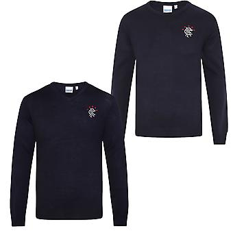 Rangers FC Official Football Gift Mens Crest Knitted Jumper