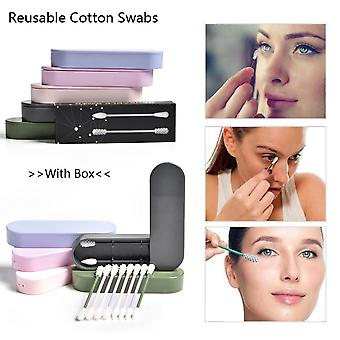 2pcs/box Reusable Cotton Swabs - Ear Cleaning, Cosmetic Cotton Buds, Silicone