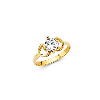 14k Yellow Gold Boys and Girls April Birthday Ring Taille 3 - .8 Grams