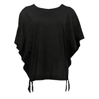 Belle by Kim Gravel Women's Top TripleLuxe Knit Butterfly Slv Black A351250