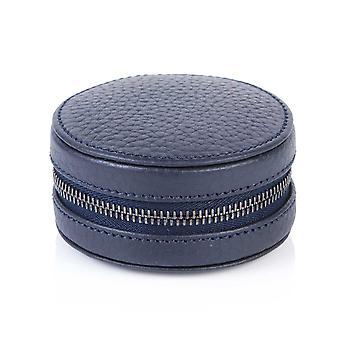 Richmond nahka kalvosinnappi / ring box indigo sininen