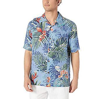 28 Palms Men's Relaxed-Fit Silk/Linnen Tropical Hawaiian Shirt, Blue Bird of P...