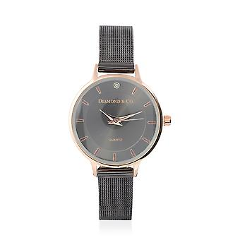 DIAMOND & CO LONDON- Diamond Studded Watch met Mesh Style Strap - Gun Tone