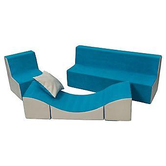 Schuim meubelset peuter compleet blauw & beige