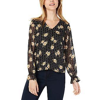 Maison Jules | Varsity Floral Print Sheer Sleeve Bluse