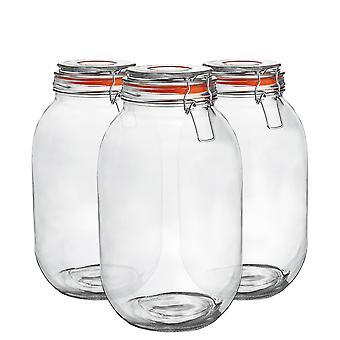 Argon Tableware Glass Storage Jars with Airtight Clip Lid - 3 Litre Set - Orange Seal - Balenie 3