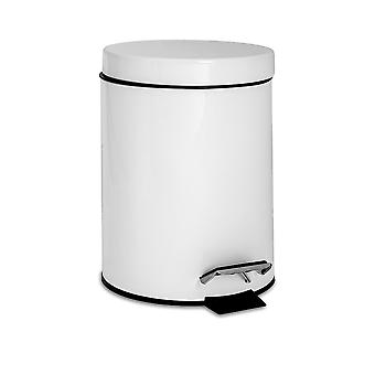 Bathroom Pedal Bin with Removable Inner Bucket, 3 Litres - White Finish
