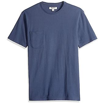 Goodthreads Men's Short-Sleeve Sueded Jersey Crewneck Pocket T-Shirt, Navy, M...