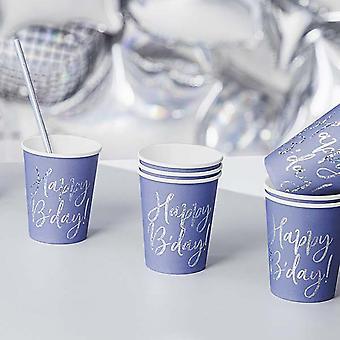 ブルーハッピーB'デイペーパーパーティーカップx 6誕生日パーティー食器