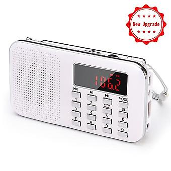 Portable Fm Radio Rechargeable Radio Receiver Tf Card /aux/u- With Led Light 1200mah Battery