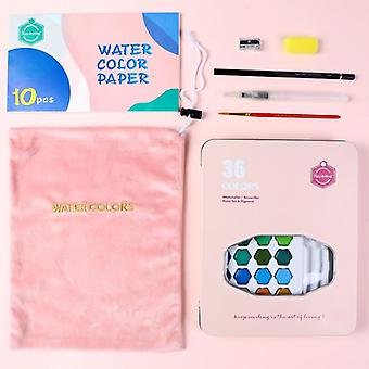 High Quality Solid Watercolor Paint With Wooden Pole Brush Pen Set, Gouache