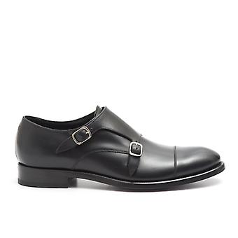 Wilton Black Leather Shoe With Double Buckle