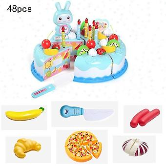 Children's Kitchen Cake Food- Diy Pretend Play Fruit Cutting Birthday Toy,