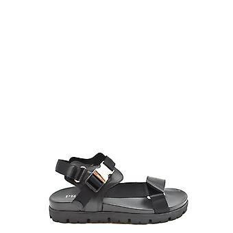 Prada 2x3055 3l6e F0002 Men's Black Leather Sandals