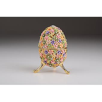 Gold With Colorful Flowers Easter Egg - Trinket Box
