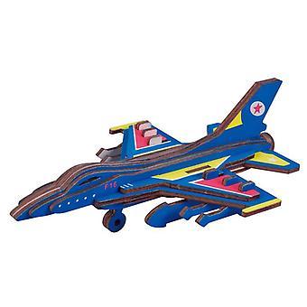 Kehitä lasten älykkyyttä Puinen 23-osainen 3D-palapeli - F16 Fighter