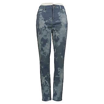 LOGO by Lori Goldstein Women's Jeans Printed Stretch Twill Blue A343692
