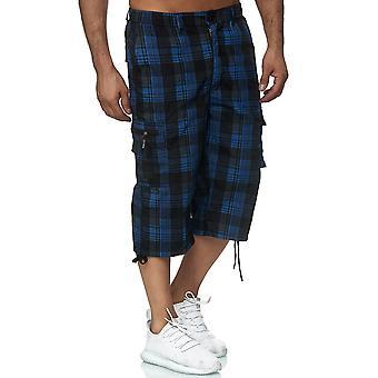 Men Basic Cargo Shorts. Short airy Bermuda Summer checkered 3/4 Capri pants