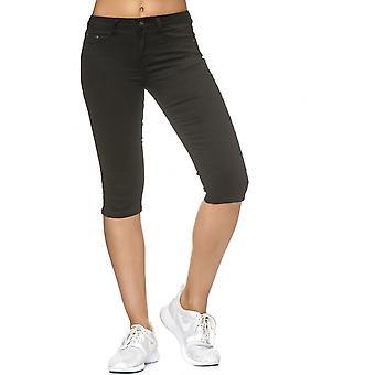 Ladies Stretch Pants Capri Shorts Denim Effect Treggings 3/4 Jeans Knee length