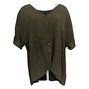 Belle by Kim Gravel Women's Top Twisted Front Knit Back A382354Green