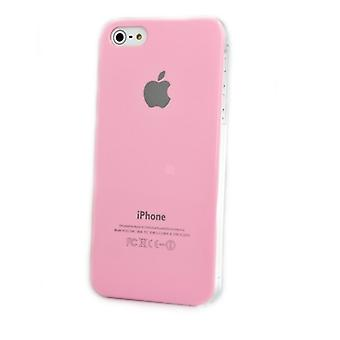 Iphone 5 Hard Plastic Cover Bagetui med Apple-logo - Light Pink
