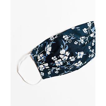 Lacivert Çiçek Yüz Maskesi