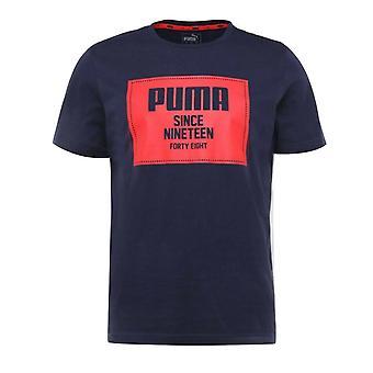 Puma Miesten Kapinalohko Basic Puuvilla T-paita Laivasto Top Casual Tee 852395 06