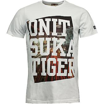 Onitsuka Tiger Box Print Tee T-Shirt Homme Graphique Top Blanc 121158 0001 A11D