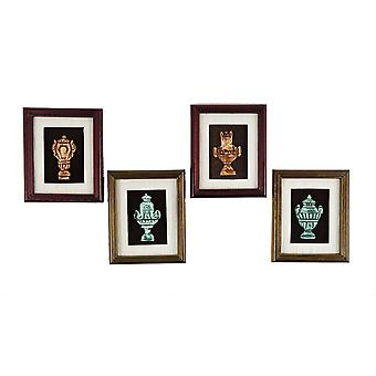 Dolls House 4 Raised Greek Urn Pictures In Frames Miniature Accessory Set
