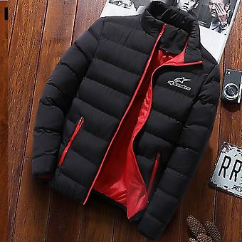 Men Fashion Stand Collar Parka Jacket Solid Thick Jackets