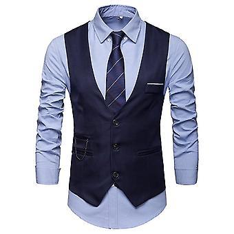 Men Slim Fit Suit Vest Waistcoat Gilet Homme Casual Sleeveless Formal Business