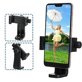 Universal 360 degree rotating cell phone holder clip with 1/4 inch screw holes fit tripod monopod selfie youtube stick for mobile phone 4-6.8 inch