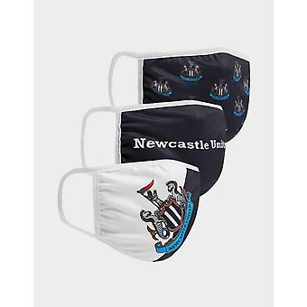 New Official Team Newcastle United FC 3 Pack Face Coverings Black